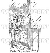 Vector Clip Art of Retro Men in the Rain by a Tent by Prawny Vintage