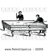 Vector Clip Art of Retro Men Playing a Game of Billiards Pool by Prawny Vintage