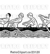 Vector Clip Art of Retro Men Rowing by Prawny Vintage