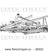 Vector Clip Art of Retro Men Sawing Wood by Prawny Vintage
