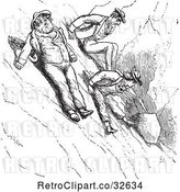 Vector Clip Art of Retro Men Scooting down a Mountain in by Picsburg