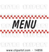 Vector Clip Art of Retro Menu Sign with Red Checker Borders by Andy Nortnik
