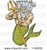Vector Clip Art of Retro Merman King Titan Holding a Trident by Patrimonio