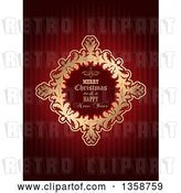 Vector Clip Art of Retro Merry Christmas and a Happy New Year Golden Frame over Red Stripes by KJ Pargeter