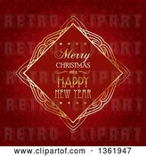 Vector Clip Art of Retro Merry Christmas and a Happy New Year Greeting in a Golden Frame over Red Snowflakes by KJ Pargeter