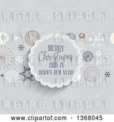 Vector Clip Art of Retro Merry Christmas and a Happy New Year Greeting in a Round Frame with Stars and Snowflakes by KJ Pargeter