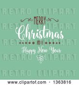 Vector Clip Art of Retro Merry Christmas and a Happy New Year Greeting on Green by KJ Pargeter