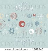 Vector Clip Art of Retro Merry Christmas and a Happy New Year Greeting over Circles, Stars and Snowflakes by KJ Pargeter