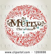 Vector Clip Art of Retro Merry Christmas Floral Wreath on Shading by OnFocusMedia