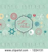 Vector Clip Art of Retro Merry Christmas Greeting Frame over Designs and Greens Snowflakes by KJ Pargeter