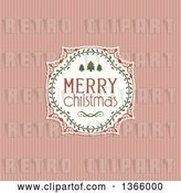 Vector Clip Art of Retro Merry Christmas Greeting in a Frame over Pastel Pink Stripes by KJ Pargeter