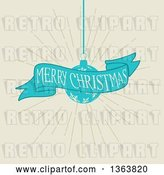 Vector Clip Art of Retro Merry Christmas Greeting on a Blue Ribbon Banner with a Snowflake Bauble over Beige by KJ Pargeter