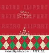 Vector Clip Art of Retro Merry Christmas Greeting on Red over Trees and Argyle by KJ Pargeter