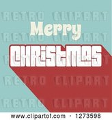 Vector Clip Art of Retro Merry Christmas Greeting over Blue and Red by KJ Pargeter