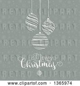 Vector Clip Art of Retro Merry Christmas Greeting with Suspended Scribble Bauble Ornaments over Snowflakes by KJ Pargeter