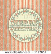 Vector Clip Art of Retro Merry Christmas Holly Circle on Grungy Orange Stripes and Snowflakes by Elaineitalia