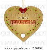 Vector Clip Art of Retro Merry Christmas Wooden Heart Shaped Ornament with Holly by Elaineitalia