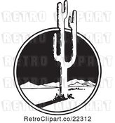 Vector Clip Art of Retro Mexican Desert Landscape and Cactus by BestVector