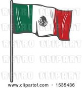 Vector Clip Art of Retro Mexican Flag, in Style by Vector Tradition SM