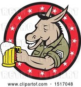 Vector Clip Art of Retro Military Donkey Holding a Beer Mug in a Star Ring by Patrimonio