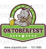 Vector Clip Art of Retro Military Donkey Holding a Beer Mug in an Oktoberfest Design by Patrimonio