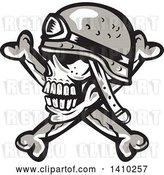Vector Clip Art of Retro Military Skull and Crossbones with a Helmet by Patrimonio
