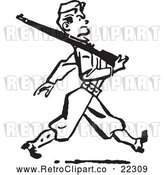 Vector Clip Art of Retro Military Soldier Marching with a Rifle by BestVector