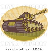 Vector Clip Art of Retro Military Tank and Rays Logo by Patrimonio