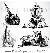 Vector Clip Art of Retro Military Weapons by BestVector