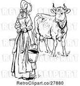 Vector Clip Art of Retro Milk Maid by a Cow by Prawny Vintage
