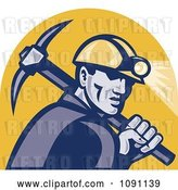 Vector Clip Art of Retro Miner with a Pickaxe and Head Lamp by Patrimonio
