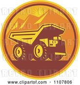 Vector Clip Art of Retro Mining Dump Truck in a Circle of Mountains and an Orange Sunset by Patrimonio