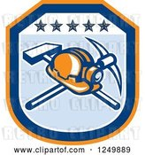Vector Clip Art of Retro Mining Helmet and Tools in a Blue and Orange Shield by Patrimonio
