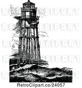 Vector Clip Art of Retro Minots First Lighthouse by Prawny Vintage