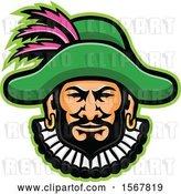 Vector Clip Art of Retro Minstrel Mascot Head by Patrimonio