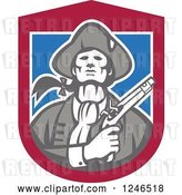 Vector Clip Art of Retro Minuteman Patriot with a Flintlock Pistol over a Shield by Patrimonio