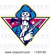 Vector Clip Art of Retro Minuteman Patriot with a Flintlock Pistol over a Star Triangle by Patrimonio