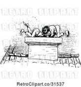 Vector Clip Art of Retro Mischievous Boys Climbing into a Chimney by Prawny Vintage