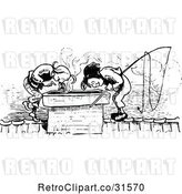 Vector Clip Art of Retro Mischievous Boys Looking down an Oven Chimney by Prawny Vintage