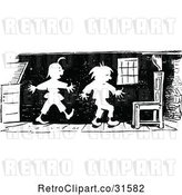 Vector Clip Art of Retro Mischievous Boys Sneaking Around by Prawny Vintage