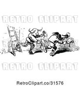 Vector Clip Art of Retro Mischievous Boys Stealing Chickens by Prawny Vintage