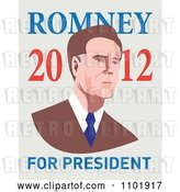 Vector Clip Art of Retro Mitt Romney in Style with 2012 for President Text by Patrimonio
