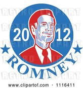 Vector Clip Art of Retro Mitt Romney Portrait in a Blue Circle with 2012 Romney Text by Patrimonio
