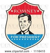 Vector Clip Art of Retro Mitt Romney Portrait in a Shield with Romney for President Text by Patrimonio