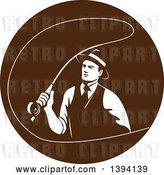 Vector Clip Art of Retro Mobster Gangster Guy Fly Fishing in a Brown Circle by Patrimonio