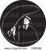 Vector Clip Art of Retro Mobster Gangster Guy Fly Fishing in a Circle by Patrimonio