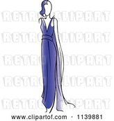 Vector Clip Art of Retro Model in a Blue Dress by Vector Tradition SM