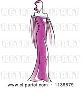 Vector Clip Art of Retro Model in a Purple Dress 1 by Vector Tradition SM