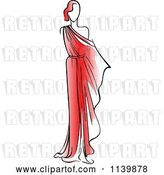 Vector Clip Art of Retro Model in a Red Dress by Vector Tradition SM