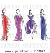 Vector Clip Art of Retro Models in Dresses by Vector Tradition SM